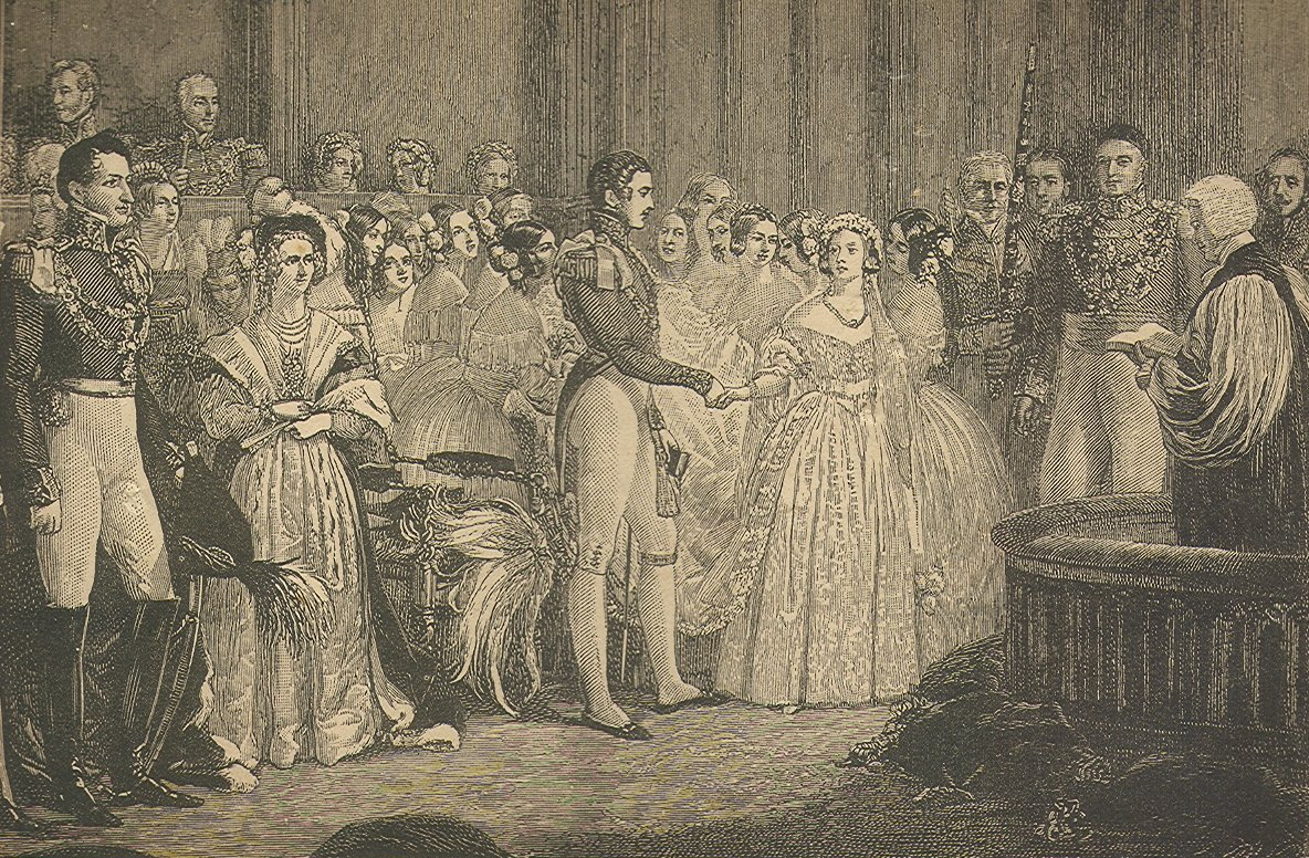 Engraving of the wedding of Albert and Victoria