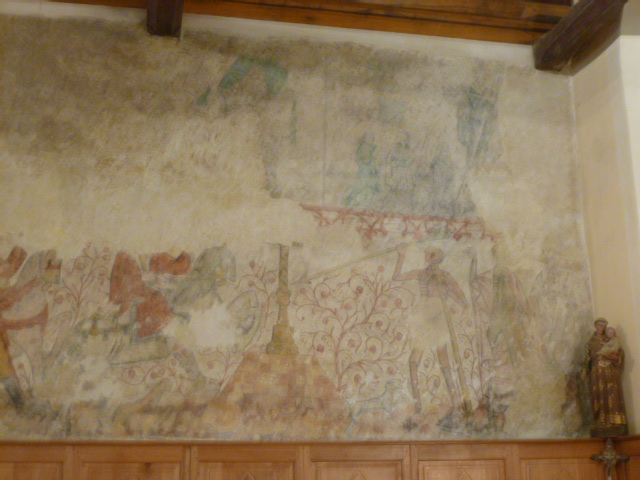 Villiers-Saint-Benoît, Puisaye, Yonne, Burgundy, France. Saint-Benoit church. Fresco on the north wall of the apse, depicting the theme of the 'Three Living and the Three Dead'.