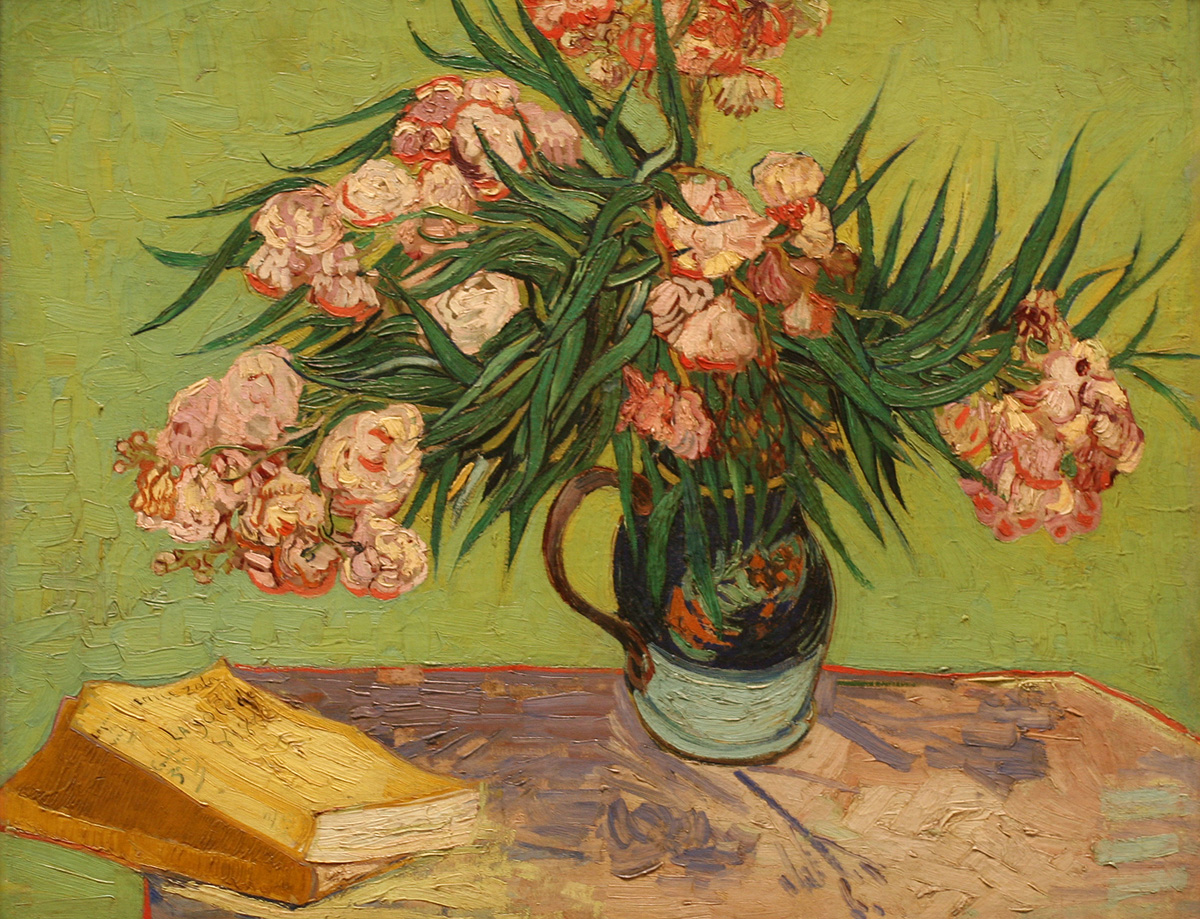 An image of the painting 'Oleanders' by Vincent van Gogh from 1888, which is in the public domain.