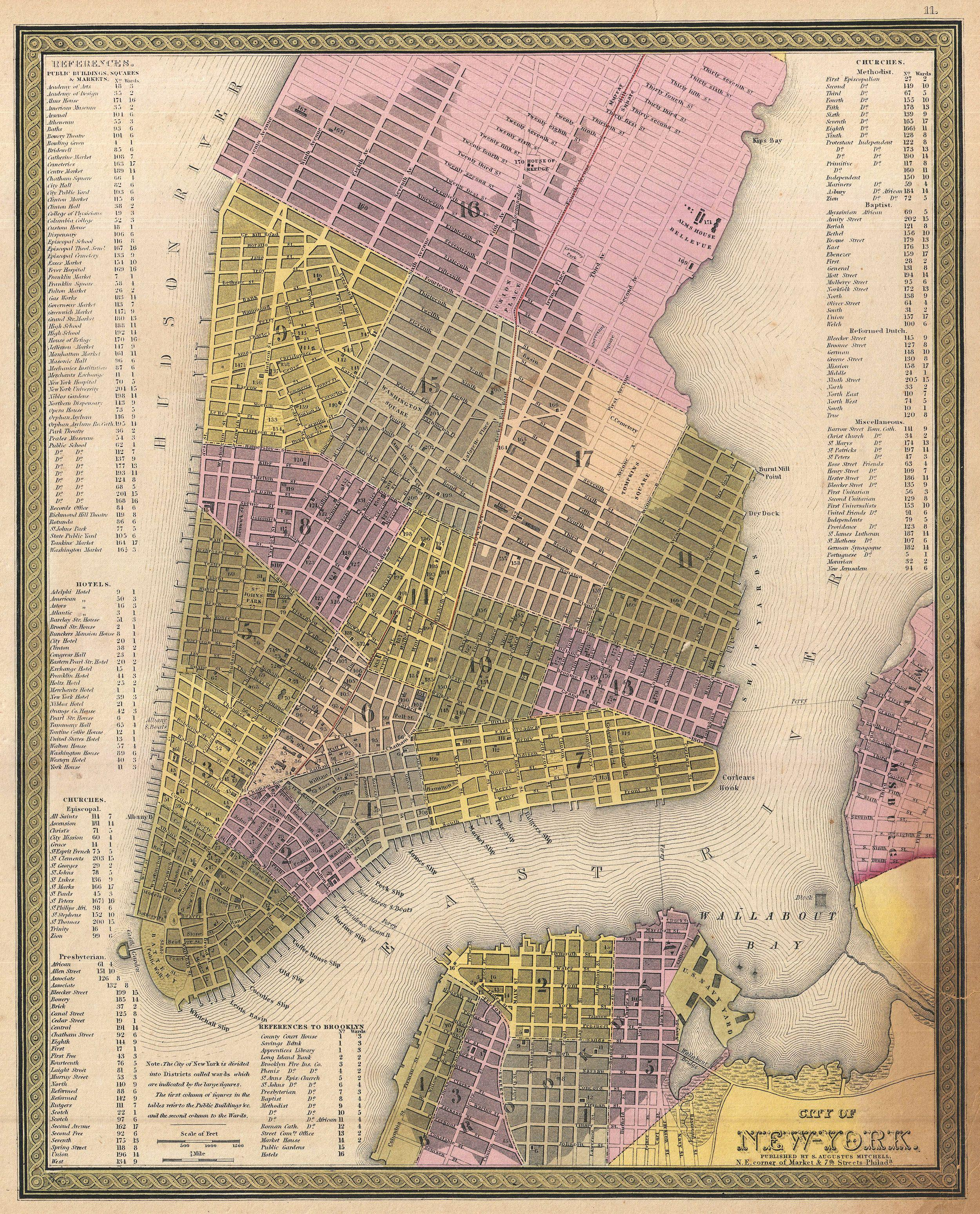 Map Of New York 1850.File 1850 Mitchell Map Of New York City Geographicus Newyorkcity