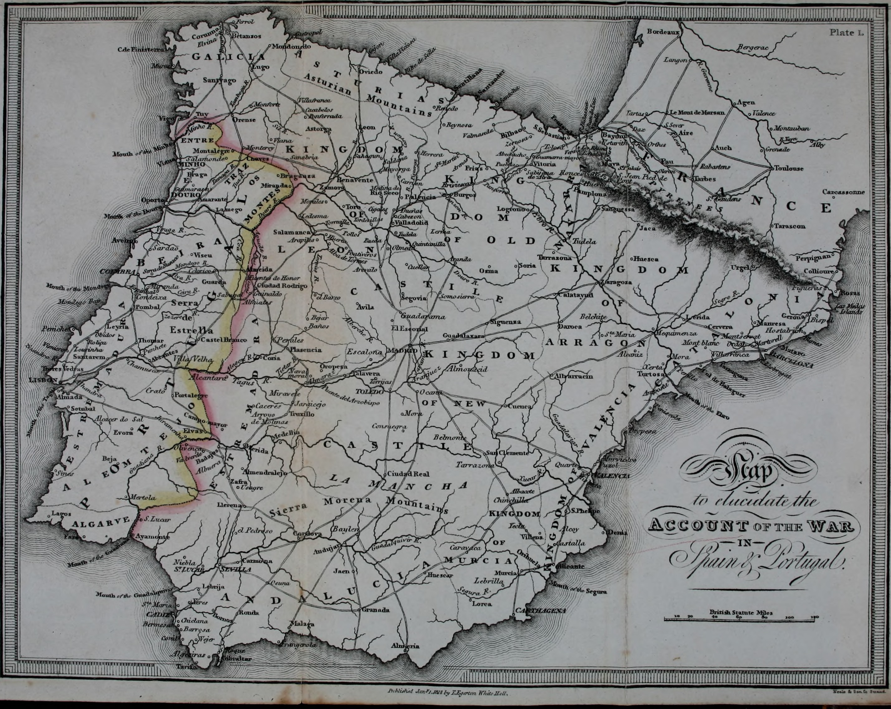 Map Of Southern Spain And Portugal.File Account Of The War In Spain And Portugal And In The South Of