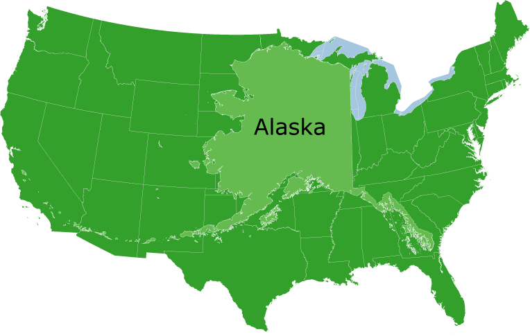 FileAlaskaSizepng Wikimedia Commons - Alaska superimposed on us map