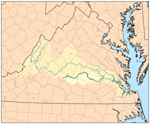 Appomattox river wikipedia appomattoxrivermapg map of the james river watershed with the appomattox sciox Images