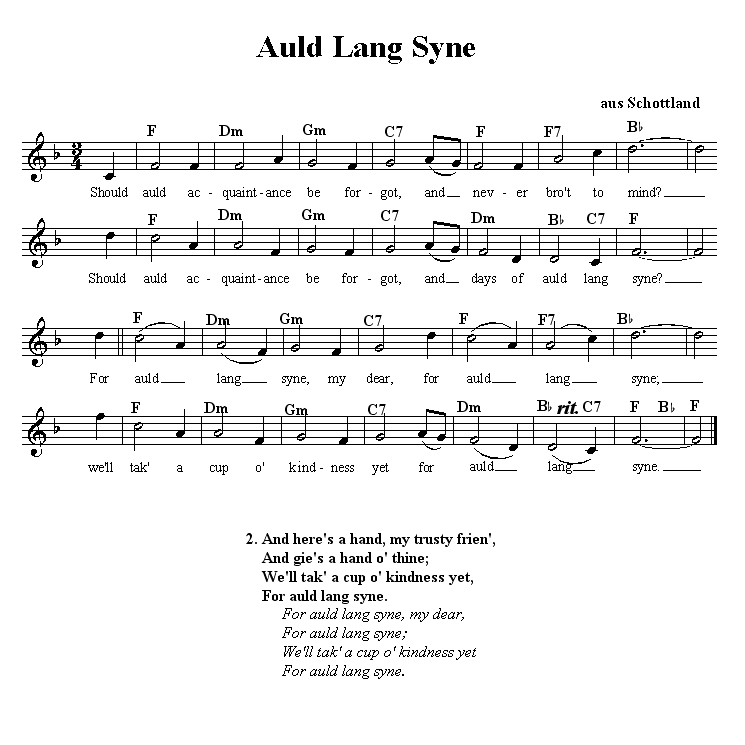 Songbook/Auld Lang Syne - Wikibooks, open books for an open world