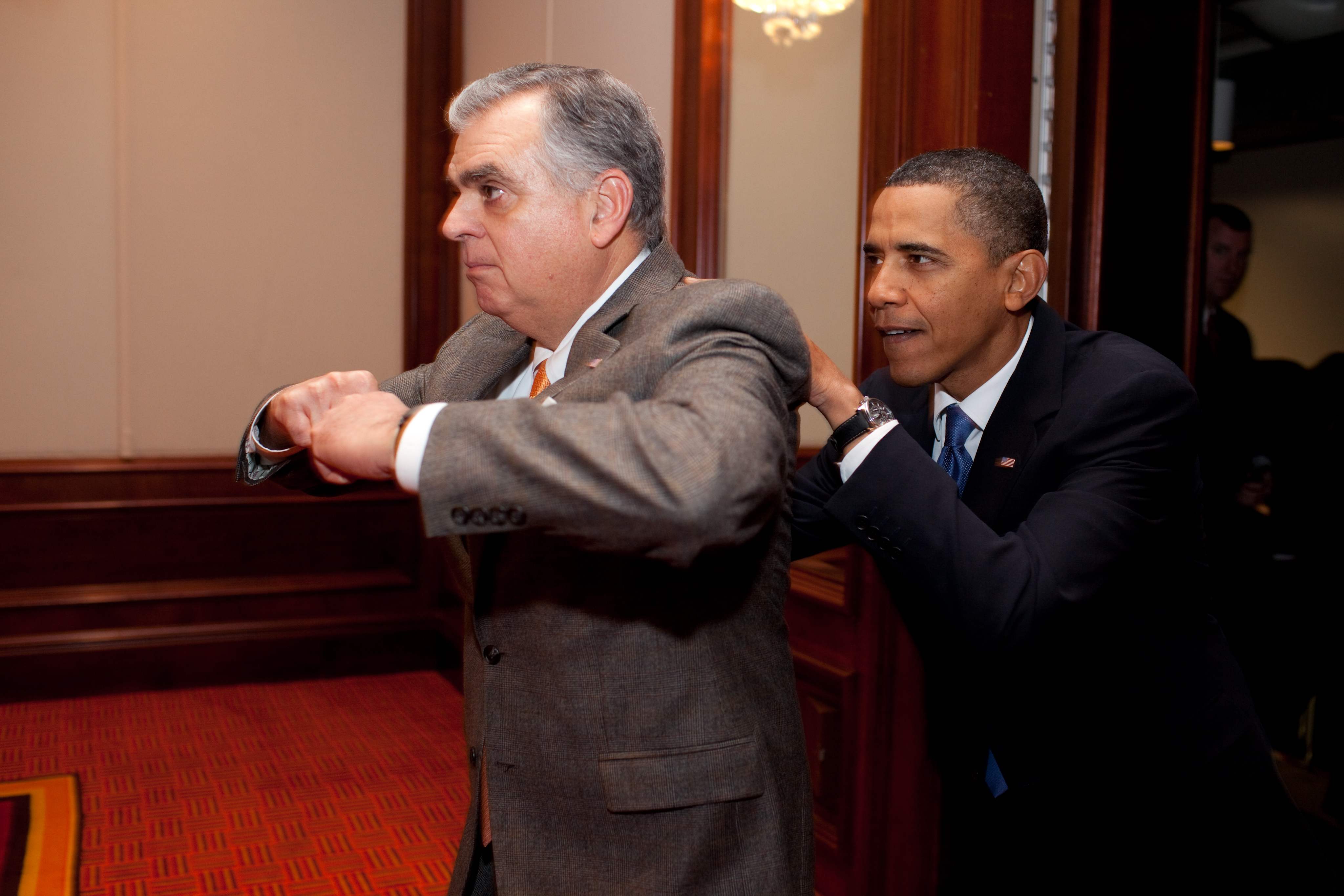 File barack obama joking with ray lahood - When is obama going to be out of office ...