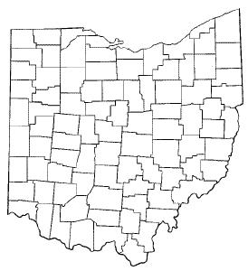 Blank county map of Ohio