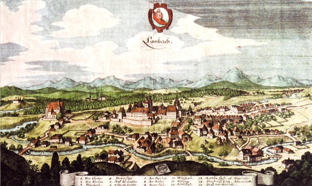 Lambach vista da Matthäus Merian (1649)