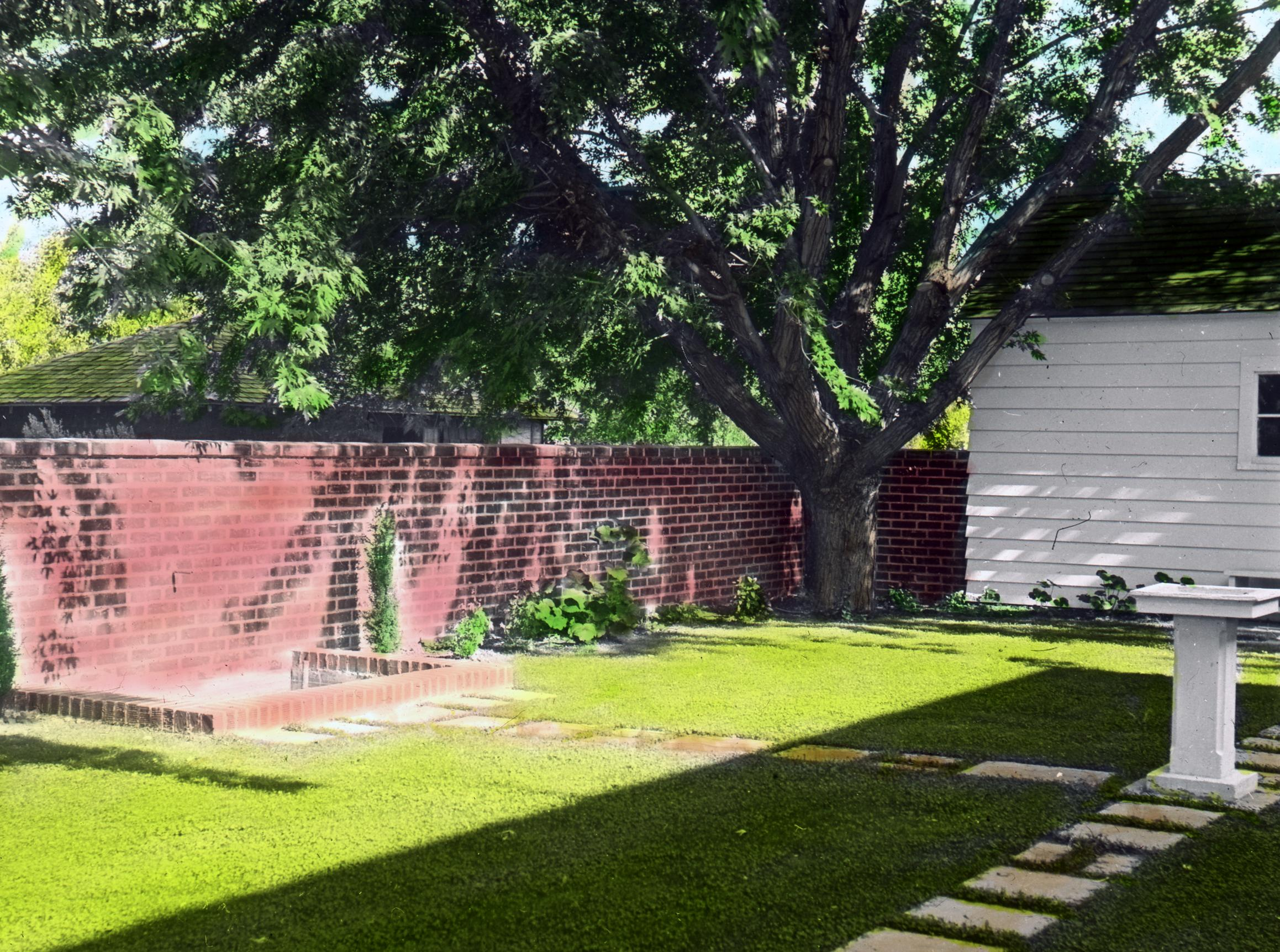File Brick Wall And Stone Path In Backyard At Hartman Residence