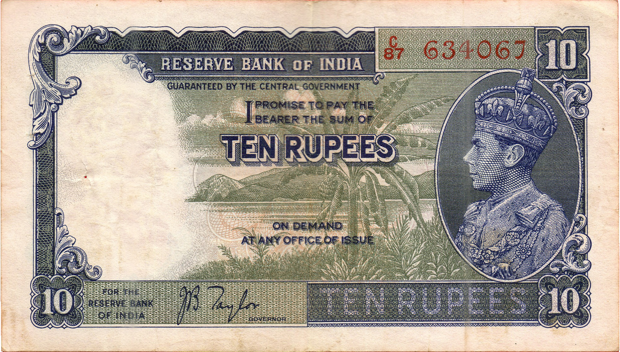 Rupee Note Size Ten-rupee Note Issued by The