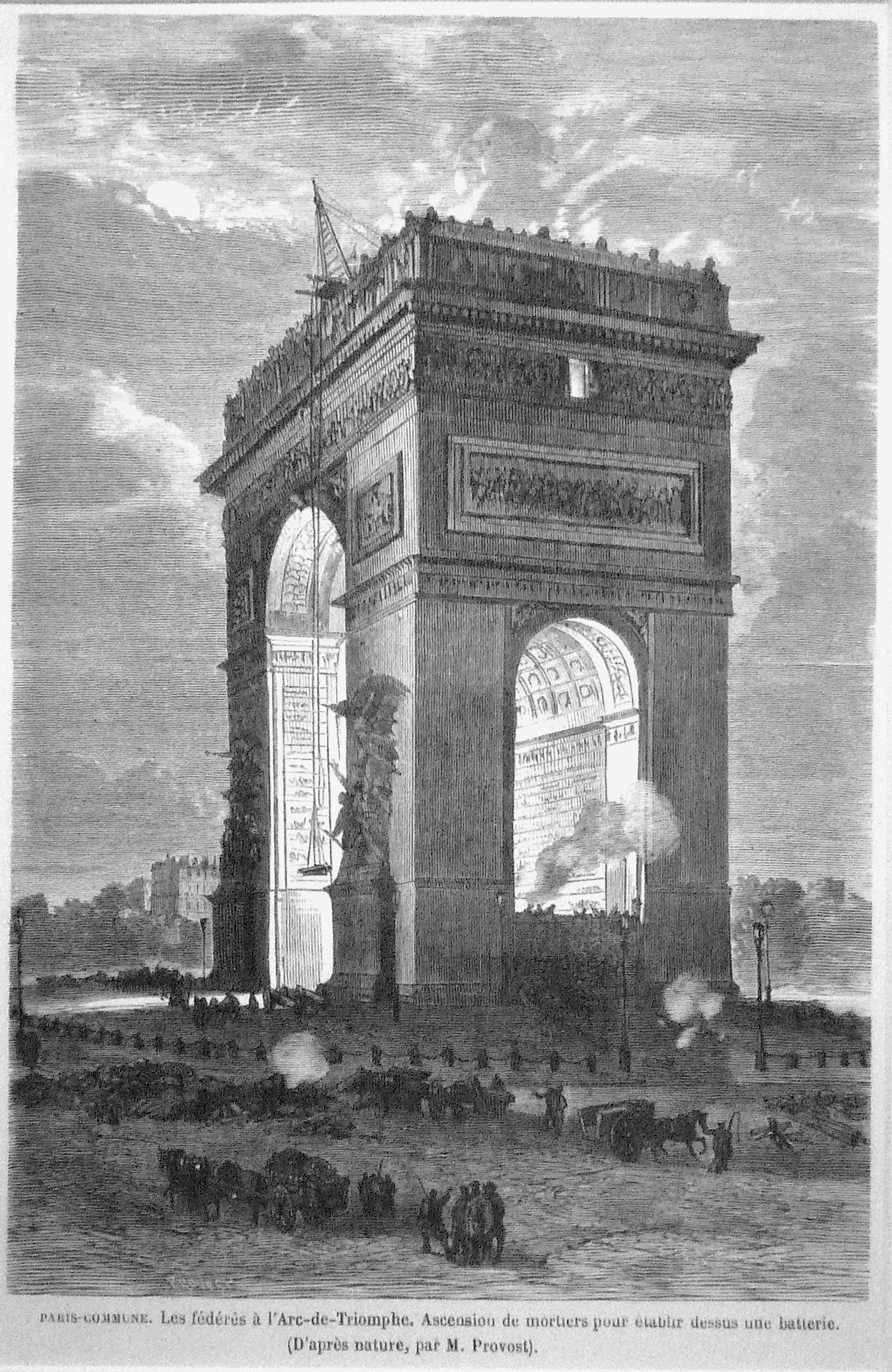 An image of the Arc de Triomphe during the Paris Commune, with cannons on top
