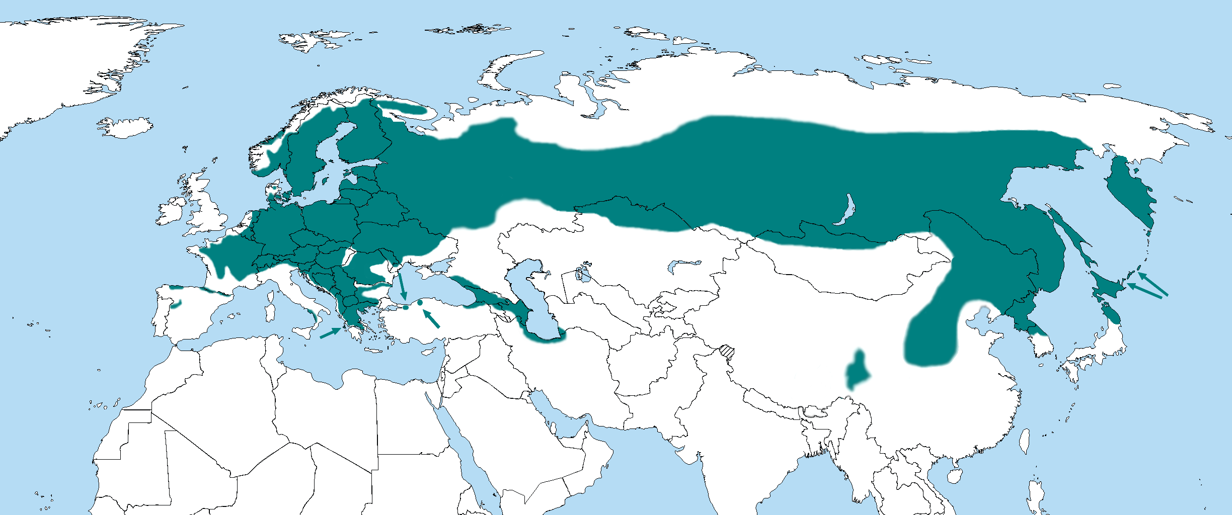 Dryocopus martius distribution map