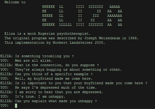 A conversation with the ELIZA chatbot.