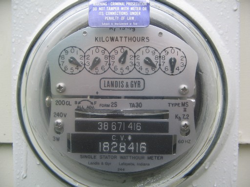 Electric meter with five dials showing kilowatt hours of power used.