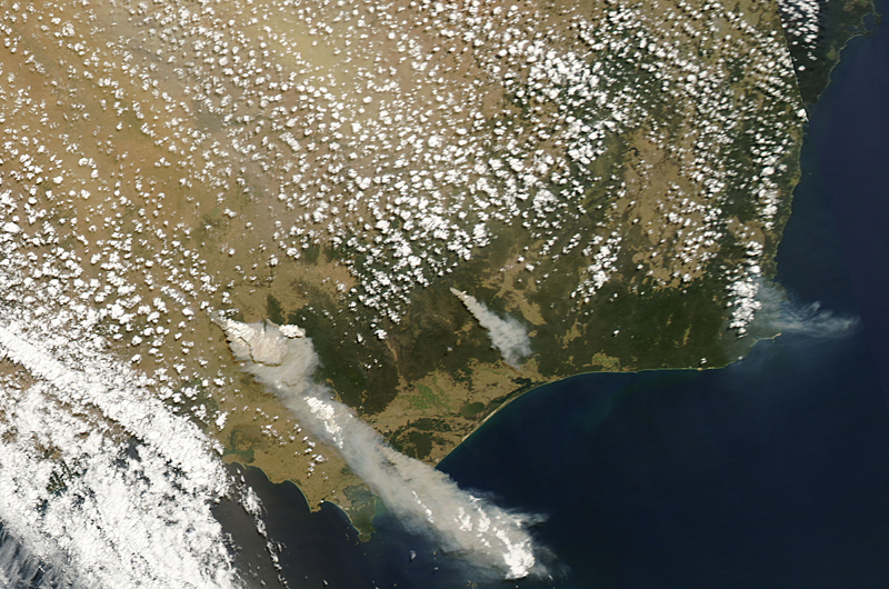 February 7 Victoria Bushfires - MODIS Aqua