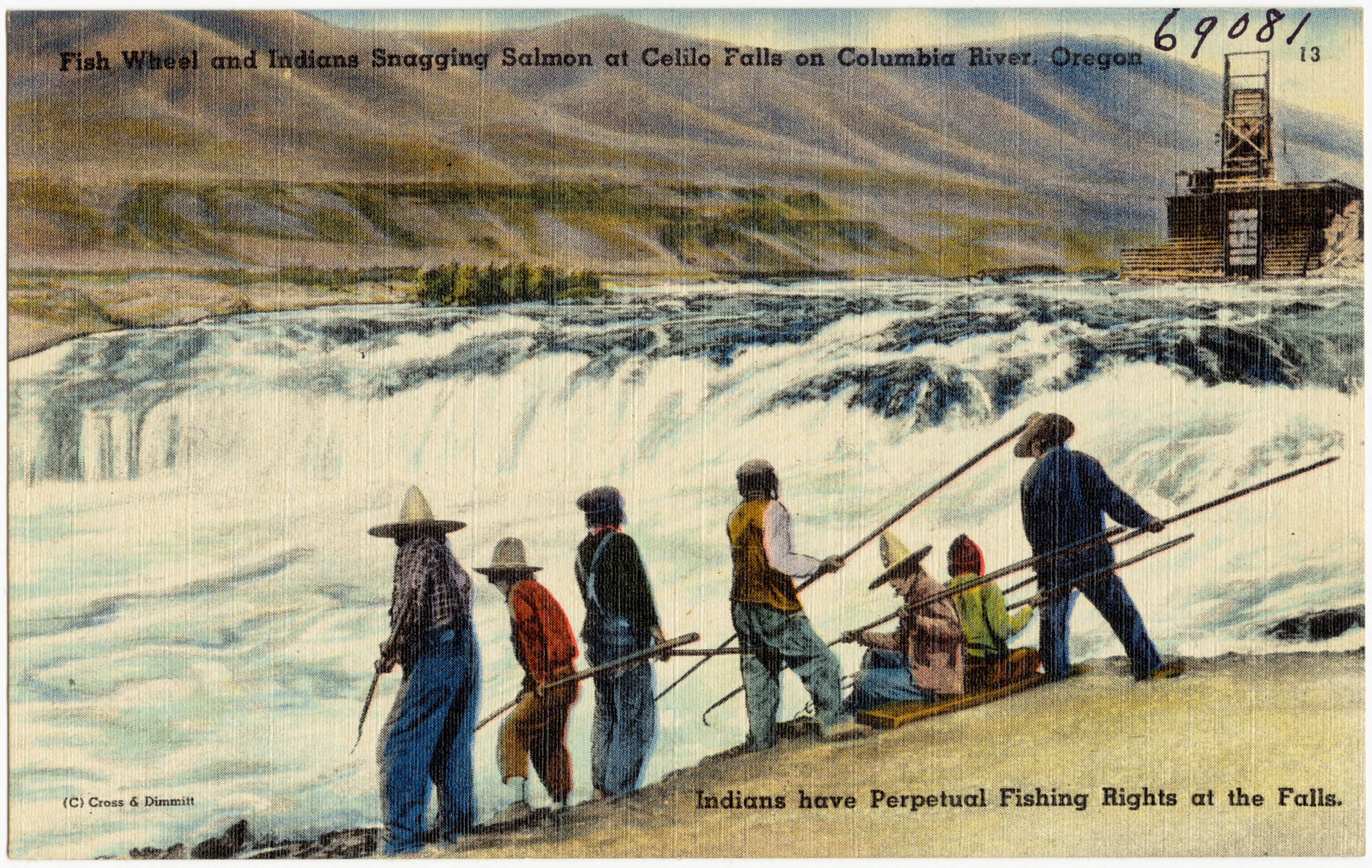 Fishing Moon Chart: Fish Wheel and Indian Snagging Salmon at Celilo Falls on ,Chart