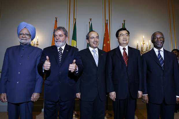A meeting of G5 leaders in 2007, with China's Hu Jintao second from right.