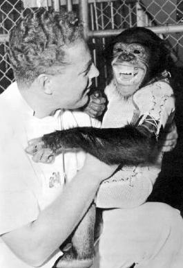 Ham the Astrochimp and his trainer