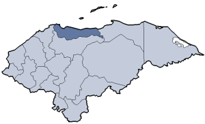 Location of Atlántida department