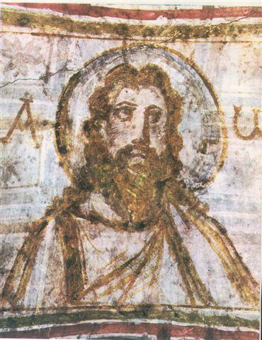 Одно из первых изображений Иисуса Христа с нимбом. Фрагмент росписей римских катакомб, IV век