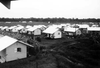 Houses in Jonestown, Guyana, 1979.
