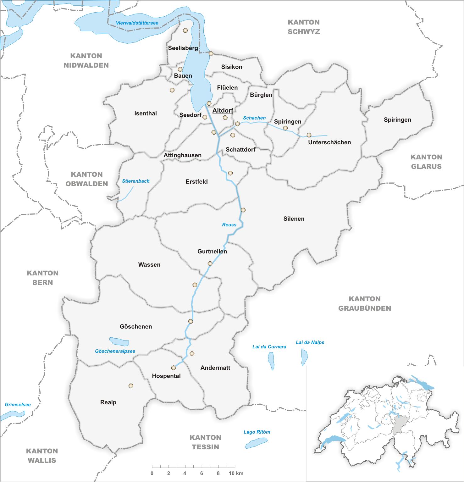 FileKarte Gemeinden des Kantons Uri 2007png Wikimedia Commons