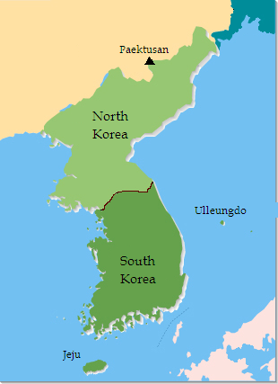 Korean Peninsula, with Paektusan, Ulleungdo, J...