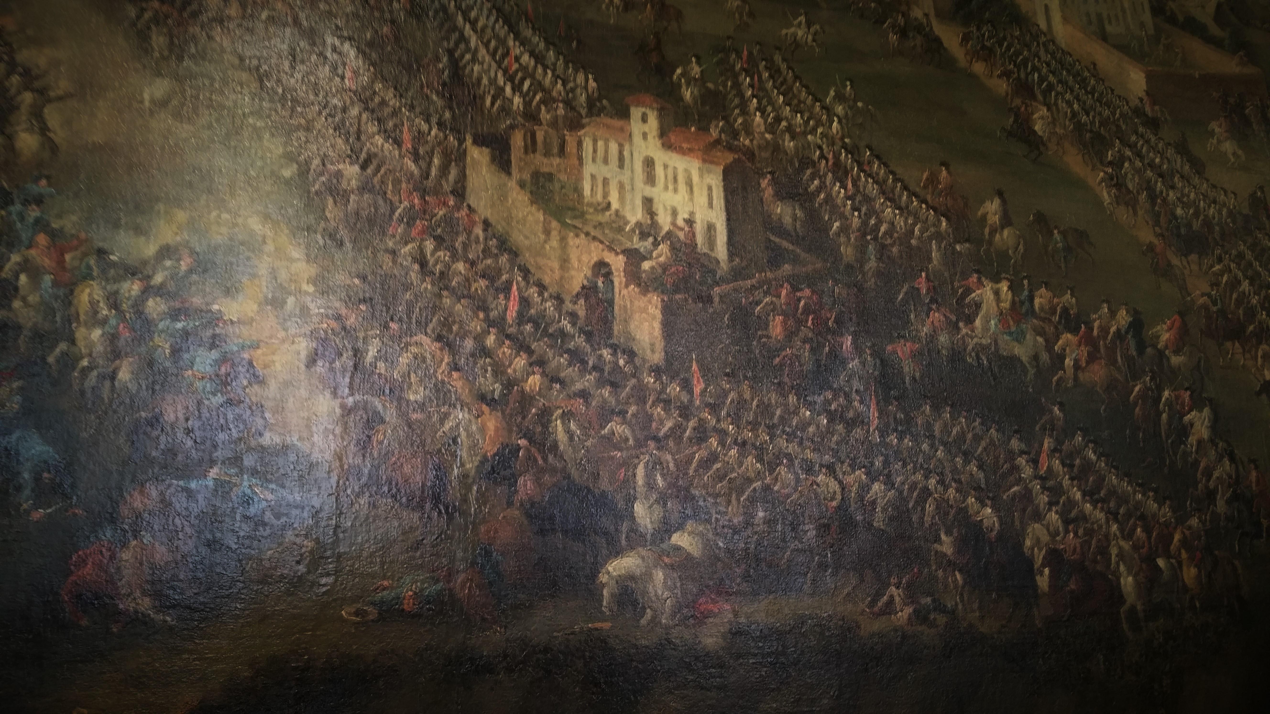 La Cavalleria Piemontese carica nei pressi del Castello di Lucento particolare dal quadro dell Assedio di Torino conservato nella Sala delle Battaglie