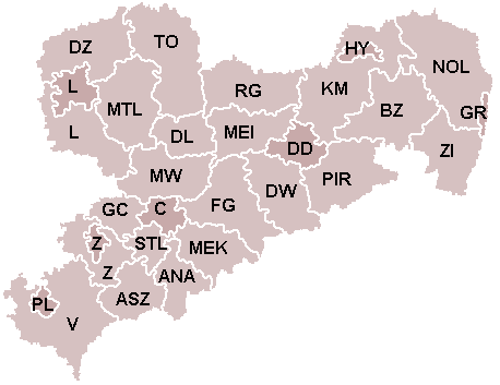 Landkreiskarte: Sachsen