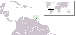 map of Caribbean with Trinidad and Tobago highlighted