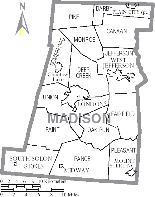 FileMap of Madison County Ohio With Municipal and Township Labels
