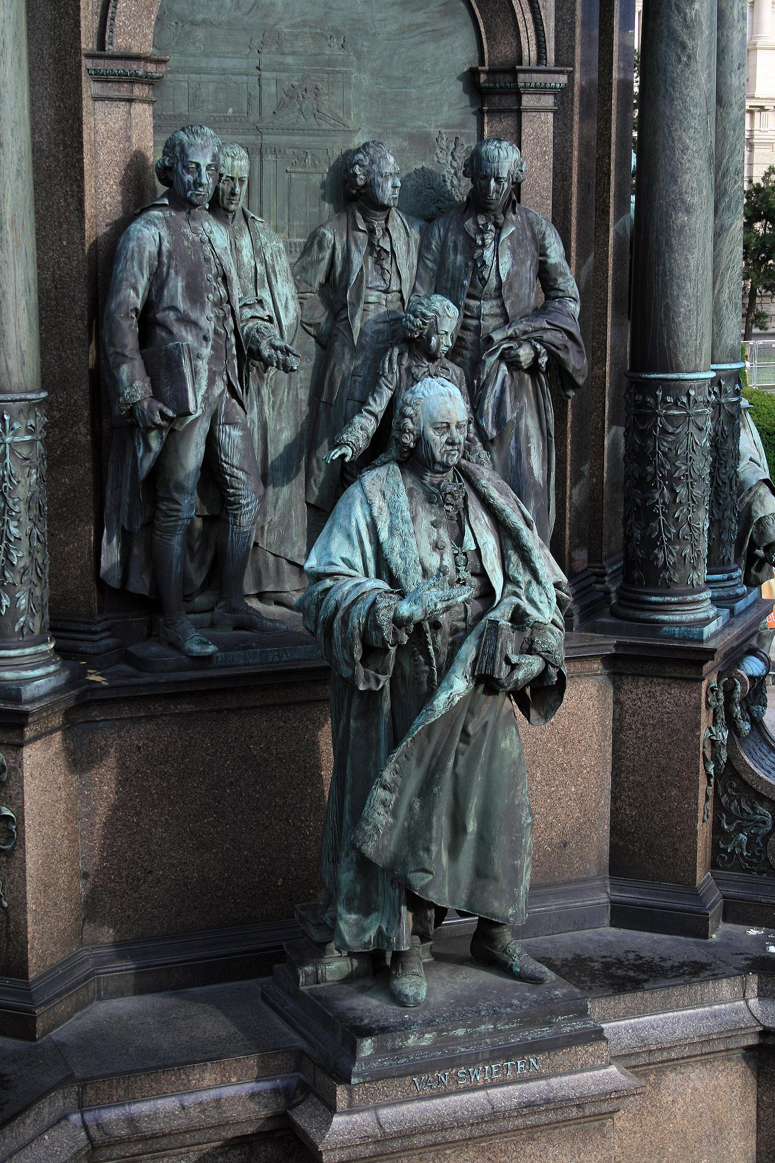 Maria-Theresien-Denkmal Wien - van Swieten, Eckhel, Pray Gluck, Haydn, Mozart 2008.jpg