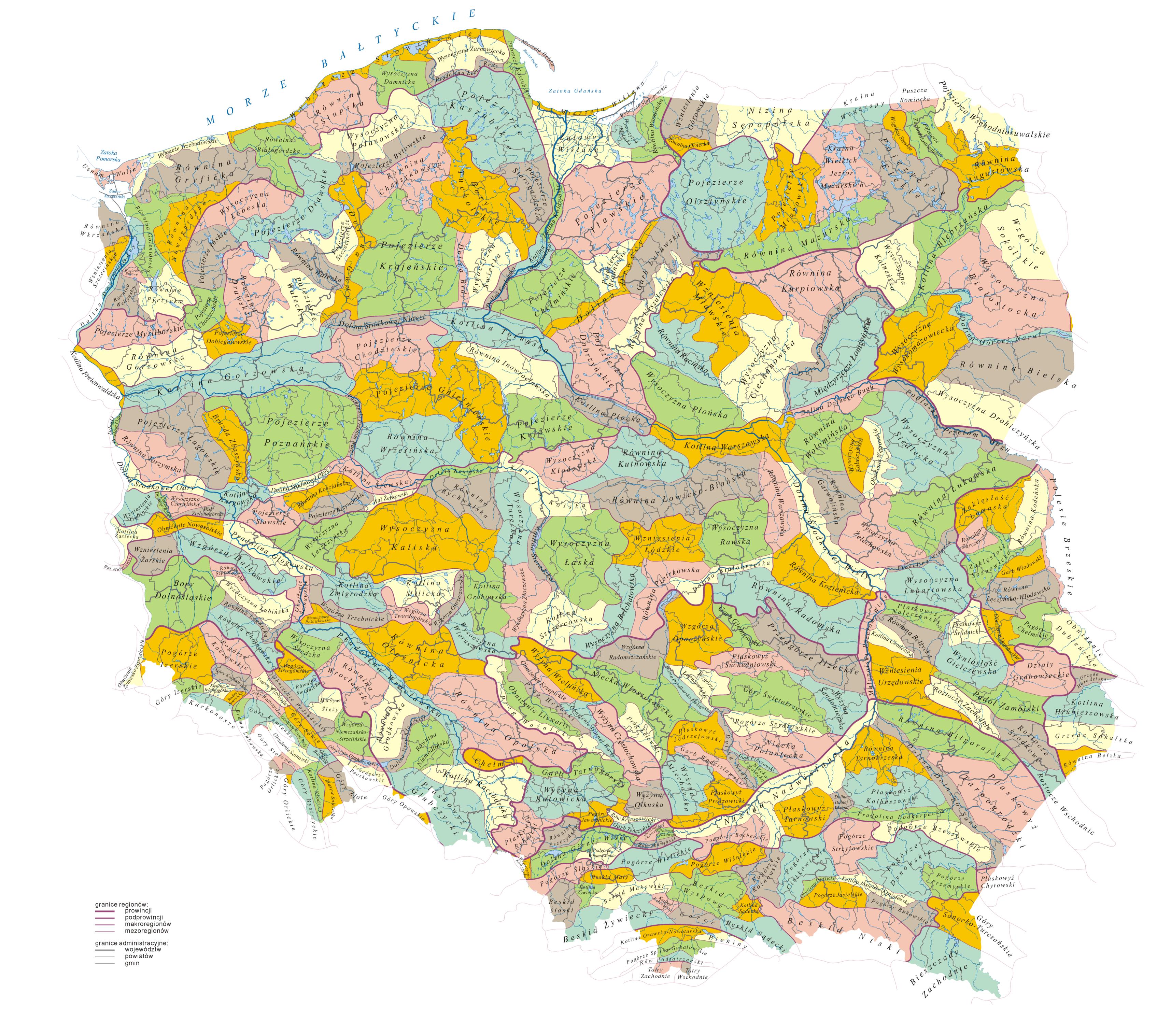 Krainy Geograficzne W Polsce Wikipedia Wolna Encyklopedia