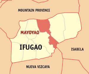 Map of Ifugao showing the location of Mayoyao