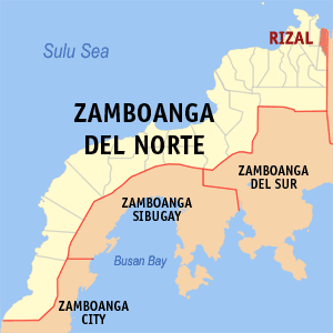 Map of Zamboanga del Norte showing the location of Rizal
