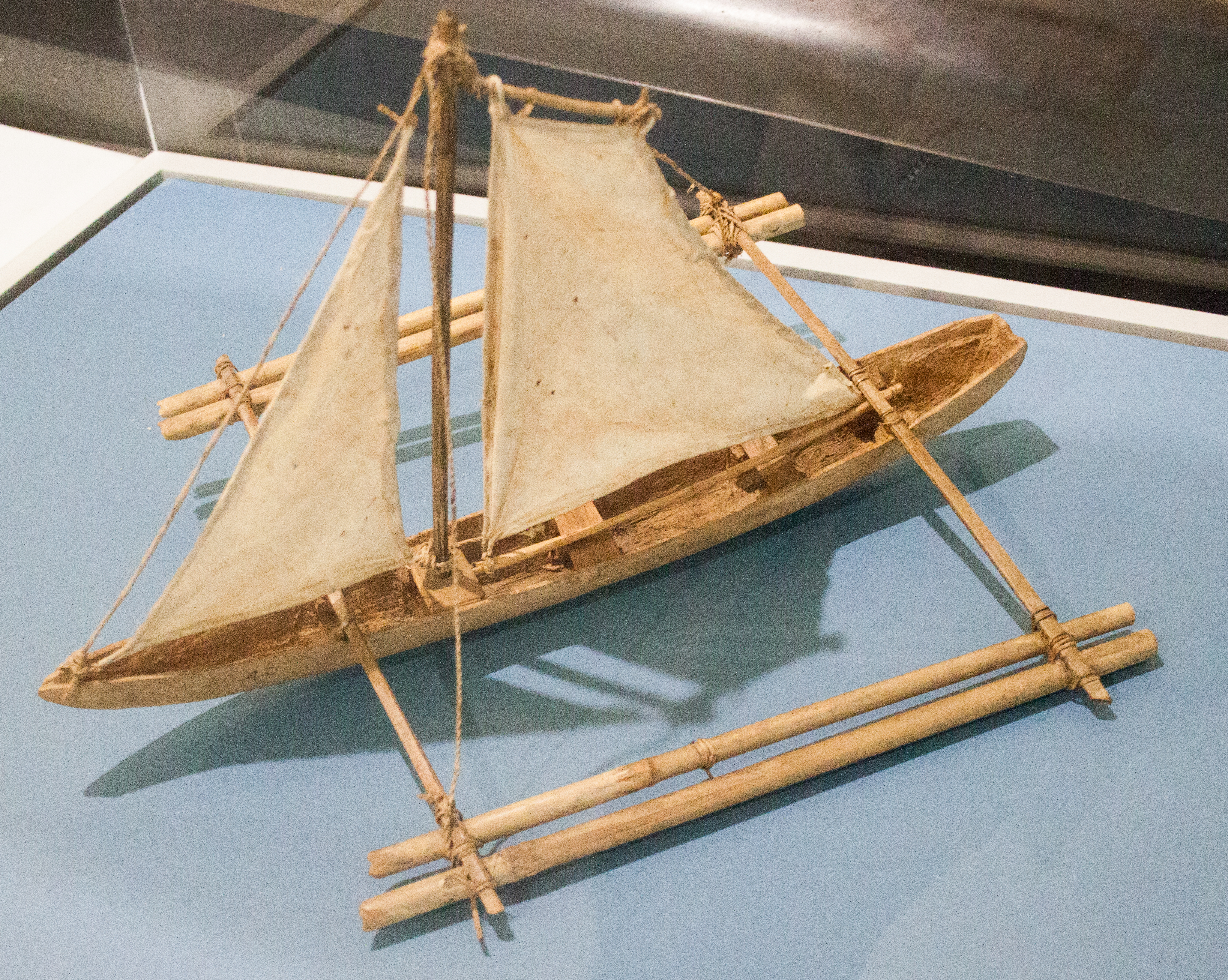 File:Philippines, sailing boat with outrigger, model in ...