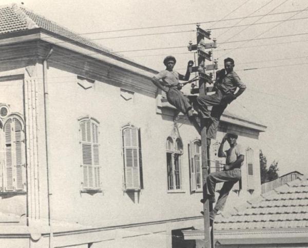 עובדי חברת החשמל מתקנים קו מתח חשמלי