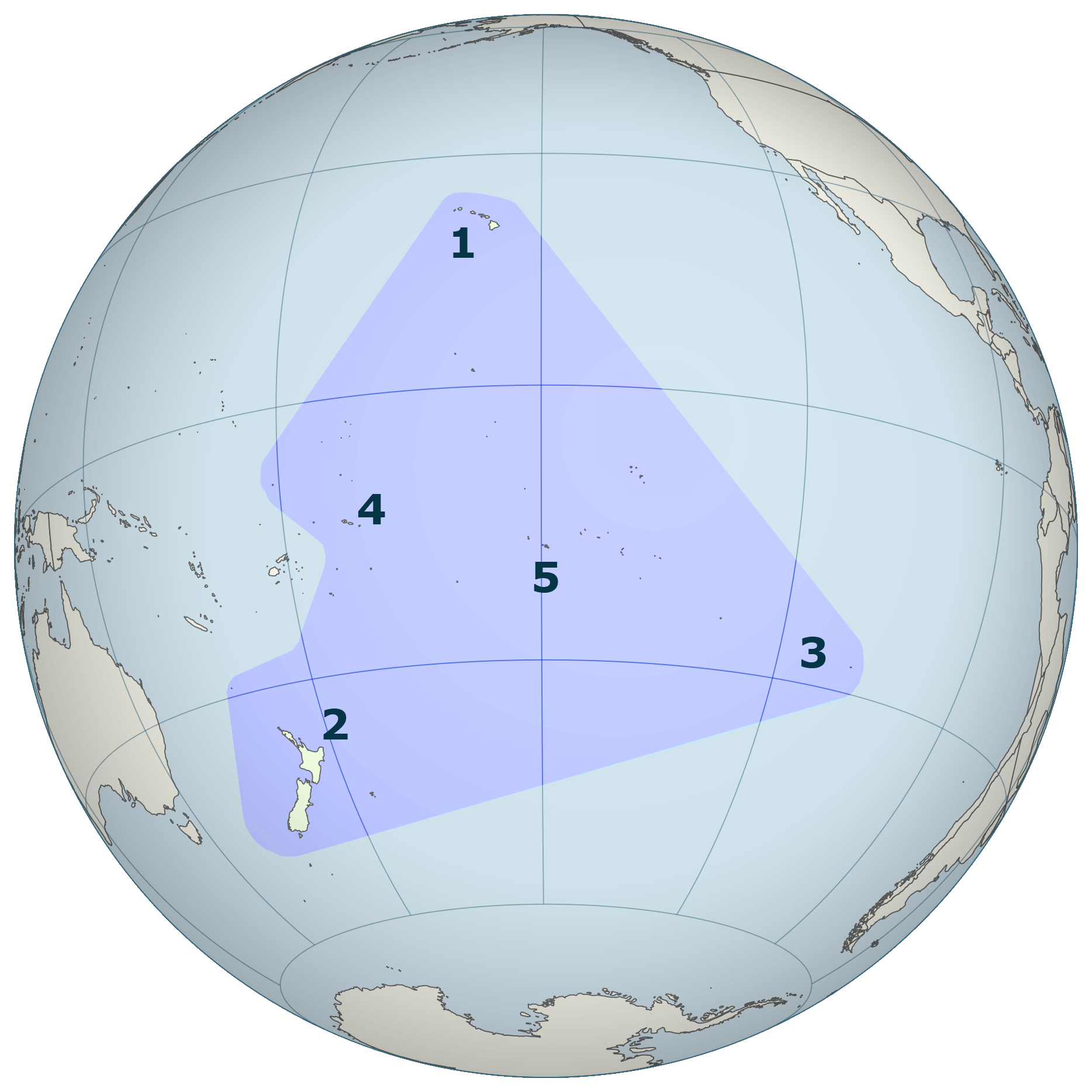 The Polynesian Triangle is a geographical region of the Pacific Ocean with Hawai<!-- okina -->i (1), New Zealand (Aotearoa) (2) and Rapa Nui (3) at its corners. At the center is Tahiti (5), with Samoa (4) to the west.