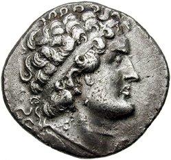 Portret van Ptolemeus VI op een zilveren tertradrachme