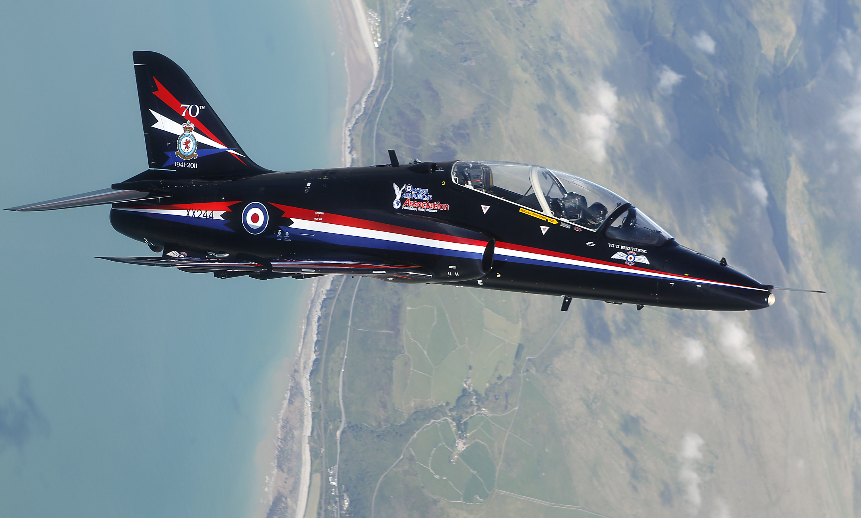 RAF Hawk T1 Fast Jet Practices Aerobatics Over North Wales MOD 45152895.jpg