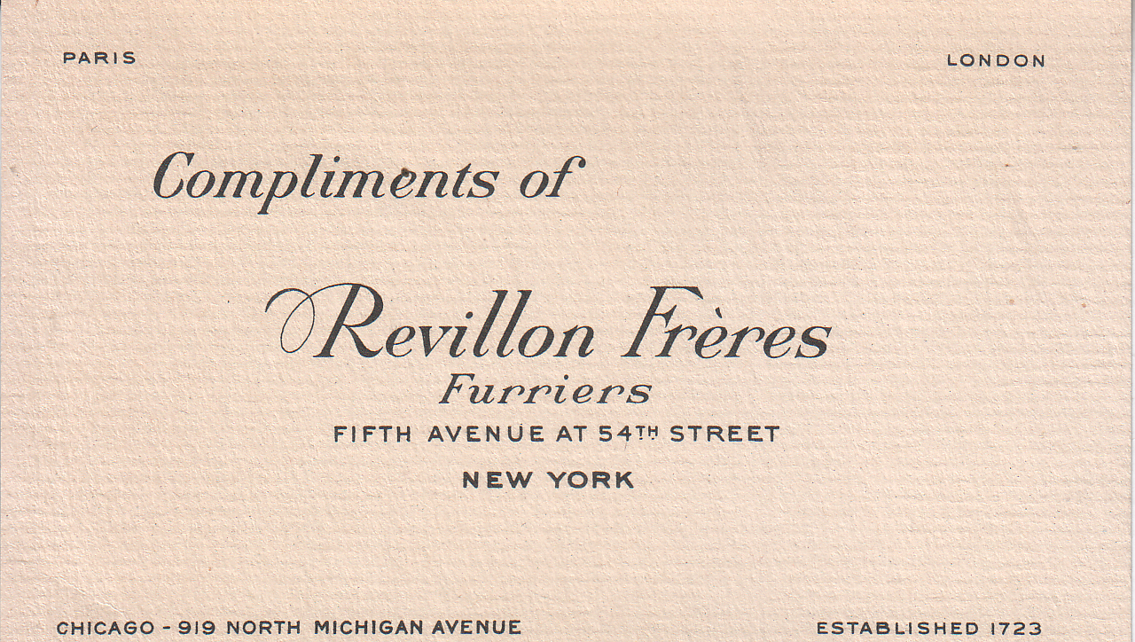 File:Revillon Frères, Furriers, New York Business Card