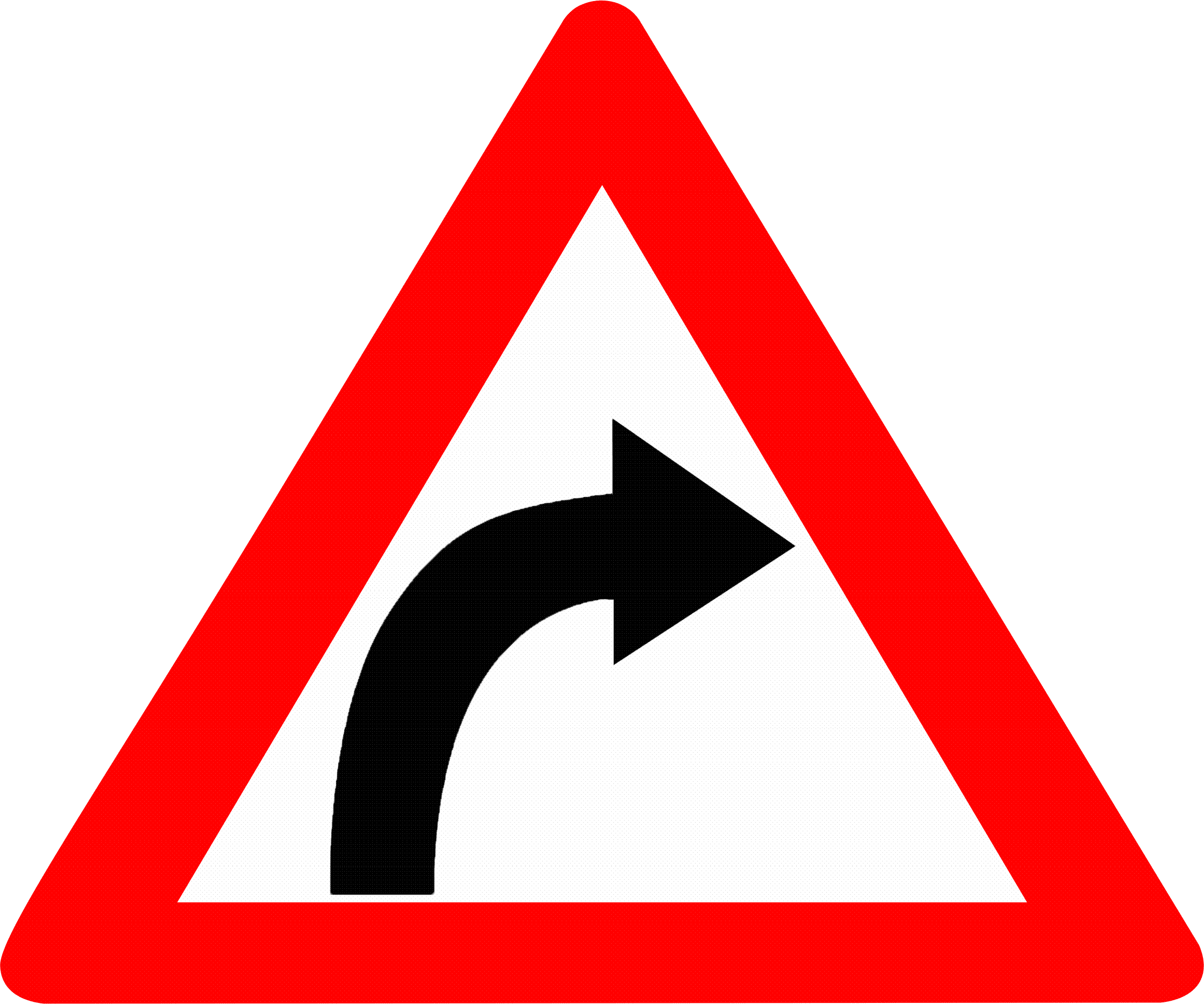 Description Right hand curve sign India.png