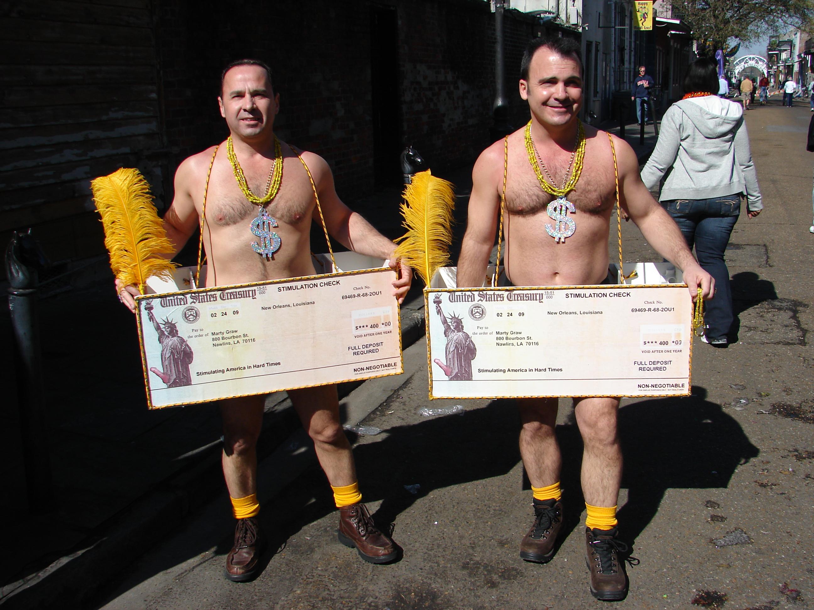 Stimulus Checks Mardi Gras 2009.jpg New Orleans Mardi Gras street revelers costumed as Stimulus Checks. Date 24 February 2009, 11:21:47 Source