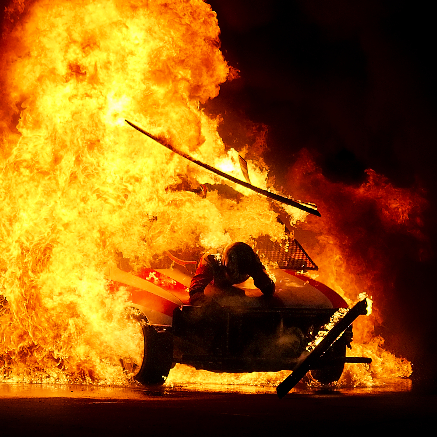 Pyrotechnics stunt exhibition by