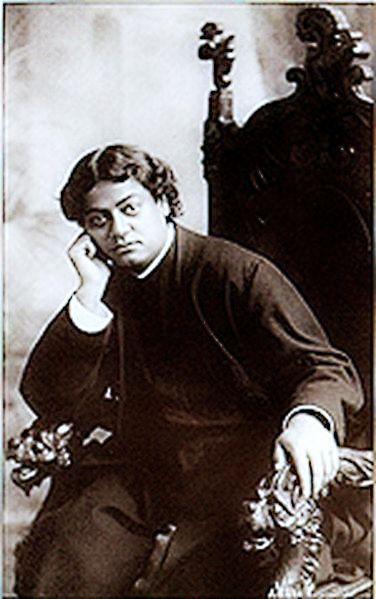 Swami Vivekananda– the photo was taken in Bushnell Studio in San Francisco, 1900.<!-- cite web -->