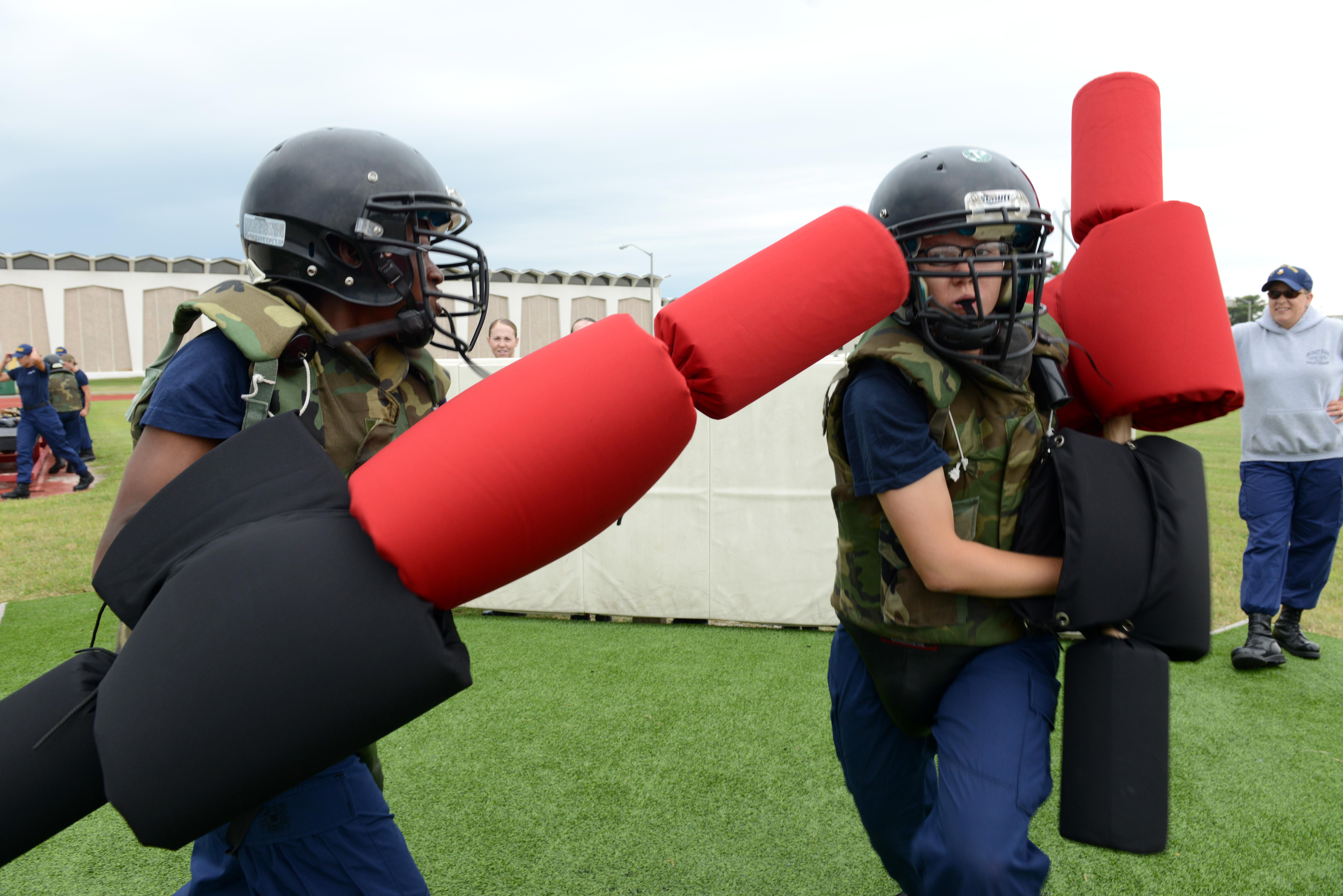 File:U.S. Coast Guard recruits use pugil sticks during training at Coast  Guard Training Center