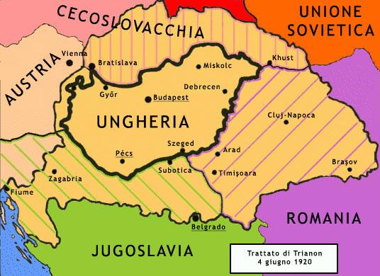 Le Traité du Trianon, comme le Traité de Versailles avec l'Allemagne, un traité de paix sous forme d'humiliation appelant à une revanche. En noir la frontière de la Hongrie après le Trianon en hachuré avant 1914.