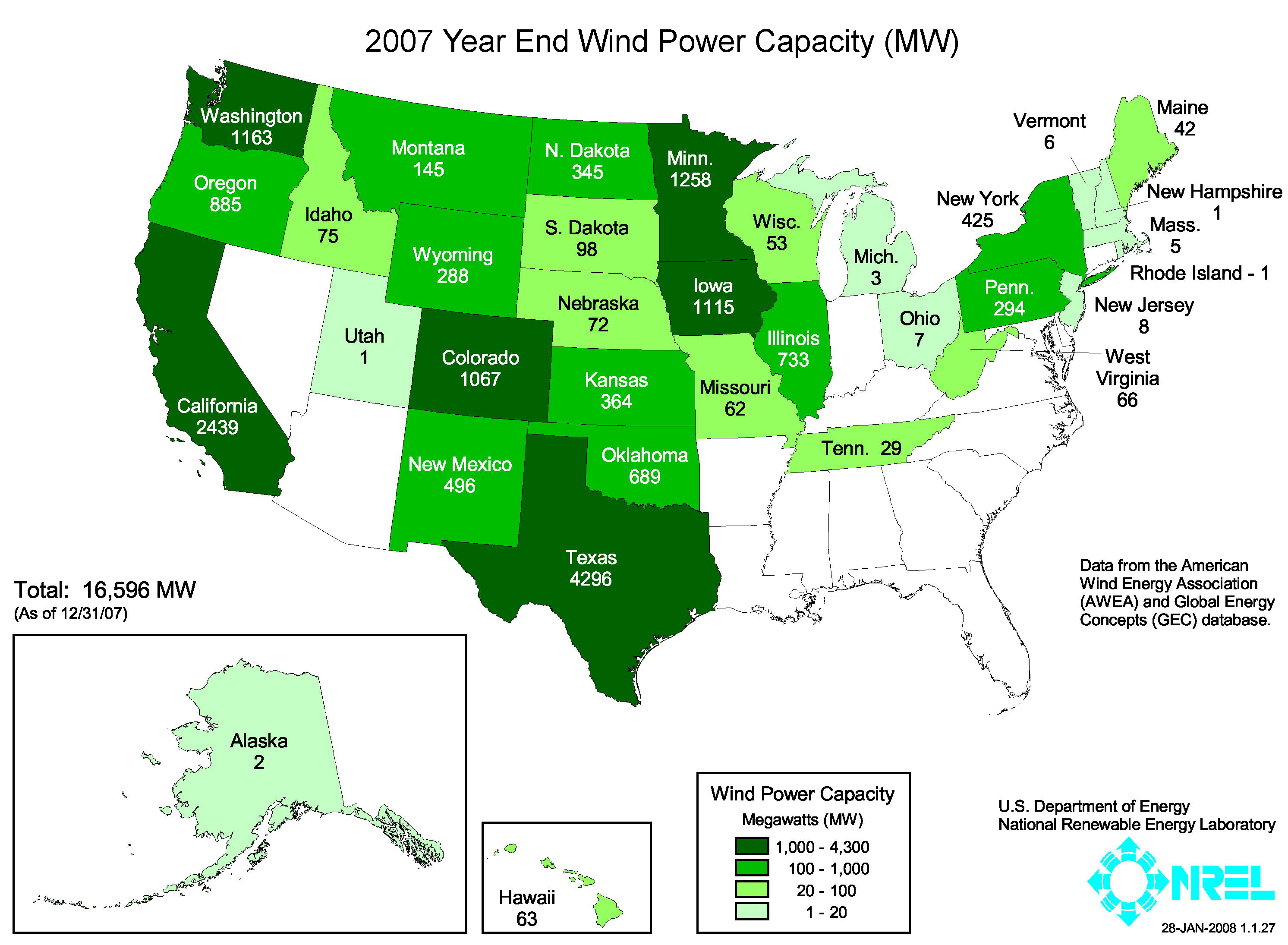 FileUnited States installed wind power capacity by state 2007jpg