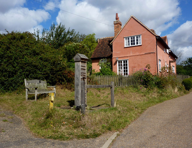 Village pump and cottage, Kersey - geograph.org.uk - 1474489