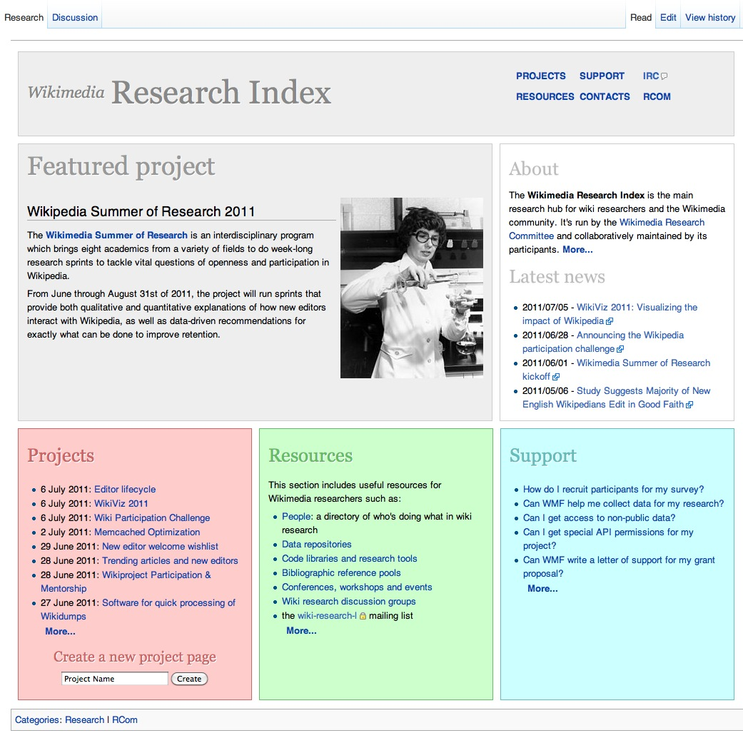 Wikimedia Research Index screenshot