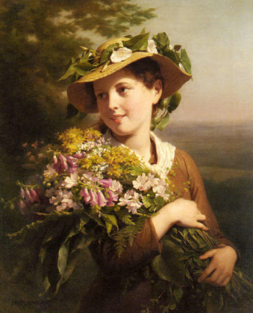 Filezuber Buhler Fritz A Young Beauty Holding A Bouquet Of Flowers